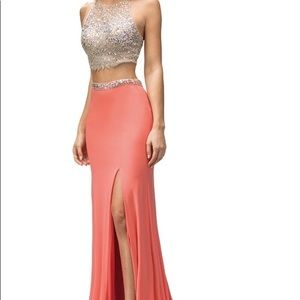 Two Piece Coral Long Prom Dress
